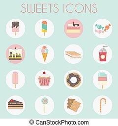 kleurrijke, iconen, set, ijs, zoetigheden, bakkerij, romen
