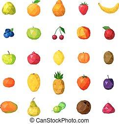 kleurrijke, iconen, verzameling, polygonal, vruchten, fris