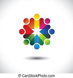 kleurrijke, iconen, vrienden, abstract, &, cirkel, vriendschap