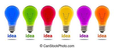 kleurrijke, idee, gloeilamp, vrijstaand