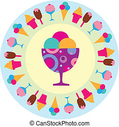 kleurrijke, ijsje-oomen, iconen, illustratie, smakelijk,...