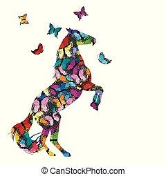 kleurrijke, illustratie, met, patterned, paarde, en, vlinder
