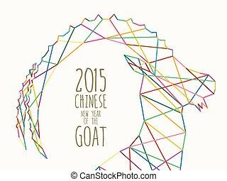 kleurrijke, jaar, 2015, nieuw, lijn, chêvre