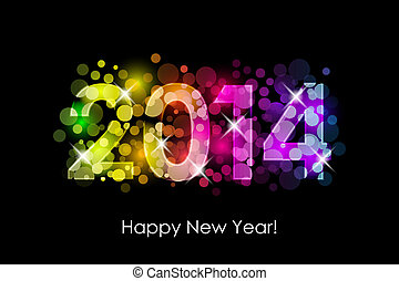 kleurrijke, jaar, -, nieuw, 2014, vrolijke