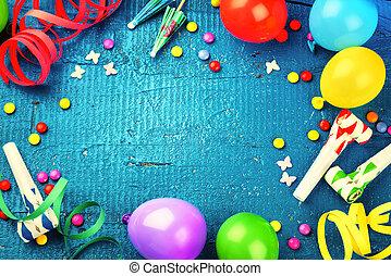 kleurrijke, jarig, frame, met, veelkleurig, feestje, items., gelukkige verjaardag, concept