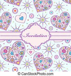kleurrijke, kaart, uitnodiging