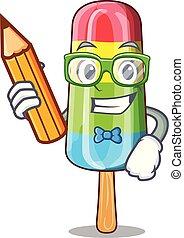 kleurrijke, karakter, ijs, drank, stok, student, room