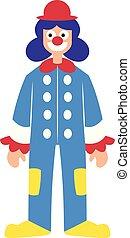 kleurrijke, karakter, illustratie, vector, clown, achtergrond, kostuum, witte
