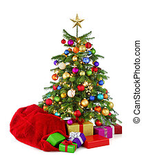 kleurrijke, kerstboom, met, zak santa, en, kadootjes