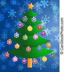 kleurrijke, kerstboom, op, vaag, snowflakes, achtergrond