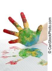 kleurrijke, kinderen, hand, geverfde, op, witte