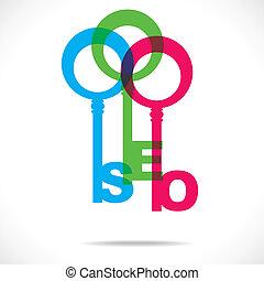 kleurrijke, klee, seo, ontwerp, woord