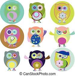 kleurrijke, kleur, illustratie, uilen, vector, negen, combinaties
