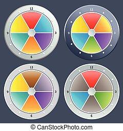 kleurrijke, klok