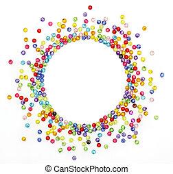 kleurrijke, kralen, cirkel, vorm, ruimte, voor, foto, of,...