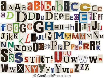 kleurrijke, krant, alfabet