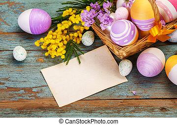 kleurrijke, lente, eitjes, mand, bloemen, pasen