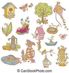kleurrijke, lente, ontwerp onderdelen, -, voor, plakboek,...