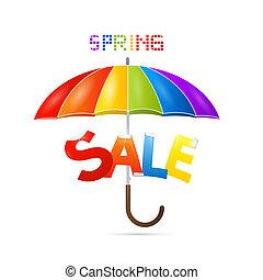 kleurrijke, lente, verkoop, achtergrond, met, paraplu