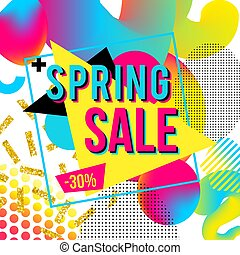 kleurrijke, lente, verkoopaffiche, reclame, ontwerp, achtergrond, zich voorstellen, tekst