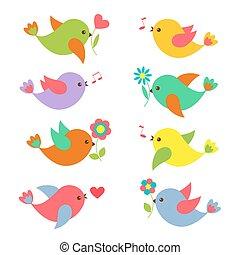 kleurrijke, lente, vogels, met, bloemen