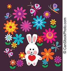 kleurrijke, lentebloemen, en, paashaas