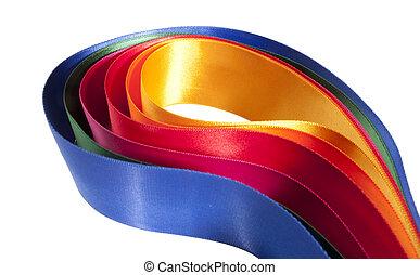 kleurrijke, lint, assortiment