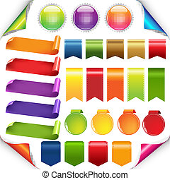 kleurrijke, linten, en, etiket, set