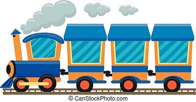 kleurrijke, locomotief, trein