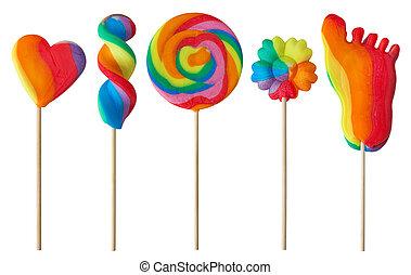 kleurrijke, lollipops