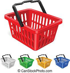 kleurrijke, mand, shoppen