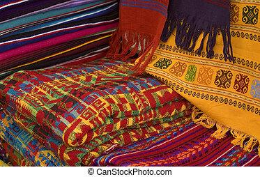 kleurrijke, mayan, weefsels