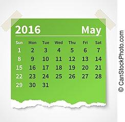 kleurrijke, mei, gescheurd document, kalender, 2016