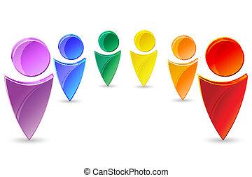 kleurrijke, menselijk, iconen
