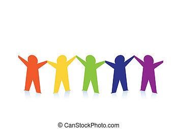 kleurrijke, mensen, abstract, vrijstaand, papier, witte