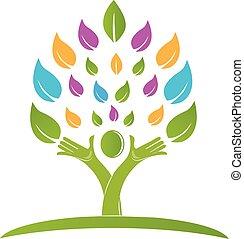 kleurrijke, mensen, boompje, vector, handen, logo