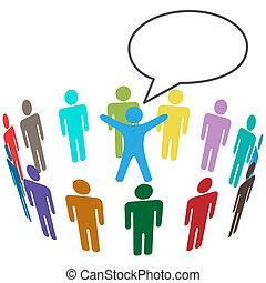 kleurrijke, mensen, publiek, horen, leider, aankondiging