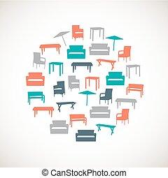 kleurrijke, meubel, iconen, -, buiten