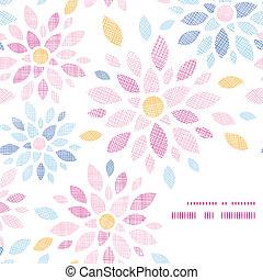 kleurrijke, model, abstract, textiel, achtergrond, hoek, bloemen, frame