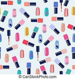 kleurrijke, model, bottles., spijker, vector, pools
