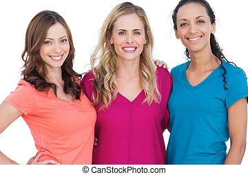 kleurrijke, modellen, t, het poseren, overhemden, vrolijke