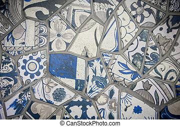 kleurrijke, mozaïek, muur, istanboel, tegels, kapot, gemaakt