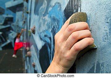 kleurrijke, muur, houden, klimmers, leren, beklimming