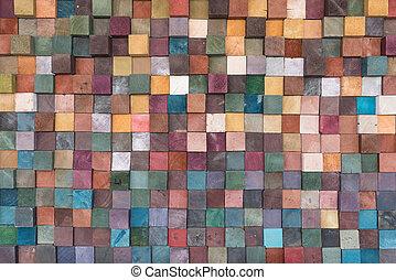 kleurrijke, muur, ouderwetse , textuur, hout, achtergrond