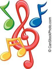 kleurrijke, muzieknota's