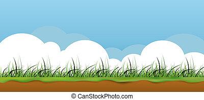 kleurrijke, natuur, gras, spandoek