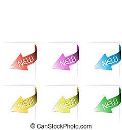 kleurrijke, nieuw, set, hoek, linten