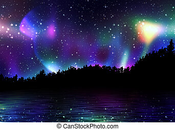 kleurrijke, noorderlicht