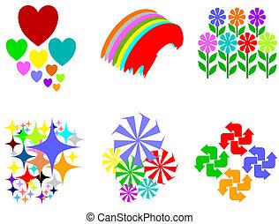 kleurrijke, ontwerp, elem