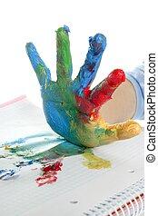 kleurrijke, op, geverfde, kinderen, hand, witte